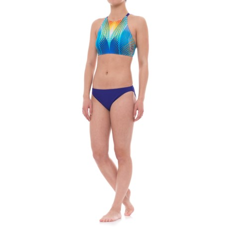 Profile Sports by Gottex High Neck Strappy Back Bikini Set - UPF 50+ (For Women) in Multi/Blue