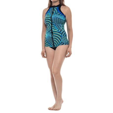 Profile Sports by Gottex High-Neck Tankini Set - UPF 50+ (For Women) in Multi/Blue