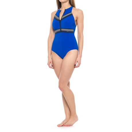 Profile Sports by Gottex Impact High-Neck Zipper One-Piece Swimsuit - UPF 50+, Racerback (For Women) in Blue