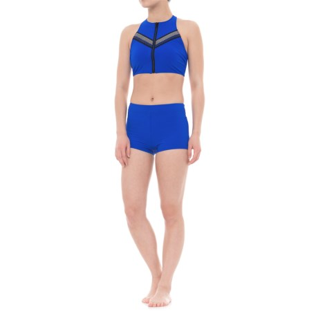 Profile Sports by Gottex Impact Racerback Bikini Set - High-Neck Zipper, Boy Shorts (For Women) in Blue