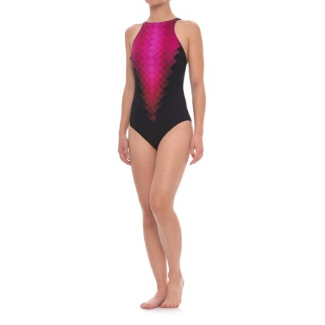 Profile Sports by Gottex Laser-Cut One-Piece Swimsuit - UPF 50+, Built-In Bra (For Women) in Black/Pink
