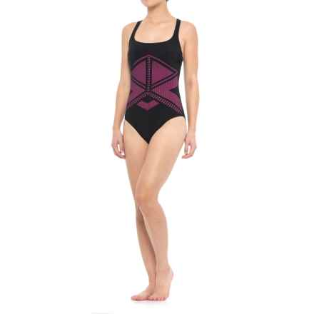Profile Sports by Gottex Laser-Cut One-Piece Swimsuit - UPF 50+, Built-In Bra (For Women) in Black/Pink - Closeouts