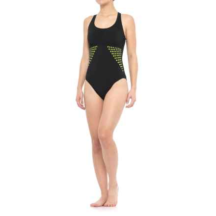 Profile Sports by Gottex Laser-Cut One-Piece Swimsuit - UPF 50+, Built-In Bra (For Women) in Black - Closeouts