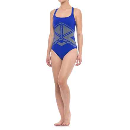 Profile Sports by Gottex Laser-Cut One-Piece Swimsuit - UPF 50+, Built-In Bra (For Women) in Blue/Green - Closeouts