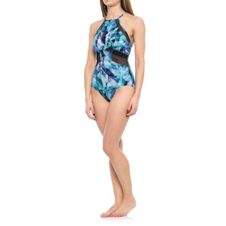 Profile Sports by Gottex Moonstone V-Back One-Piece Swimsuit - UPF 50+ (For Women) in Multi/Blue