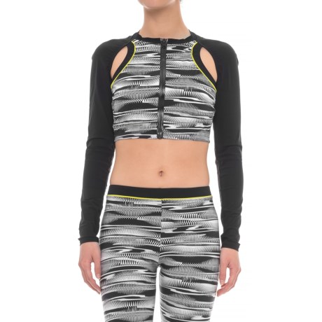 Profile Sports by Gottex Shoulder Cutout Cropped Rash Guard - UPF 50+, Long Sleeve (For Women) in Black