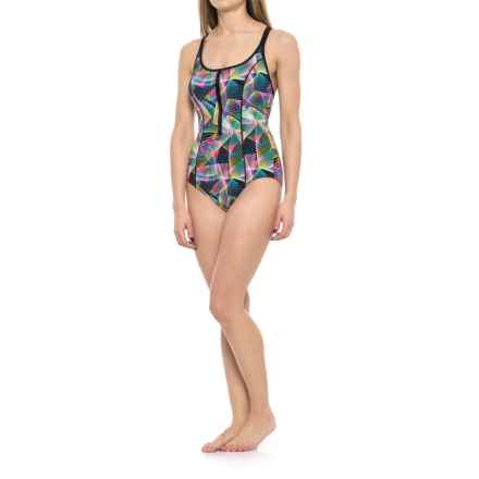 Profile Sports by Gottex Spirograph Zipper One-Piece Swimsuit - UPF 50+ (For Women) in Multi - Closeouts