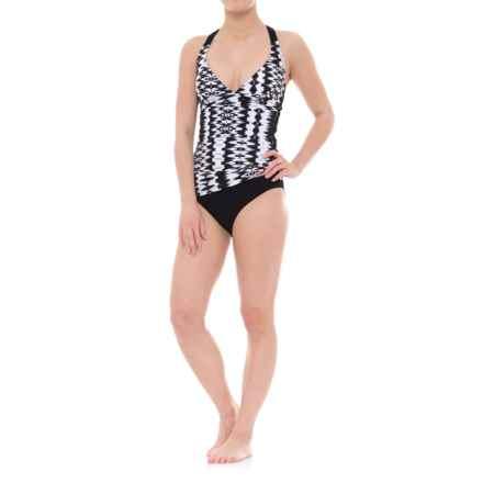 Profile Sports by Gottex V-Neck Tankini Set - UPF 50+, Built-In Bra (For Women) in Black/White - Closeouts