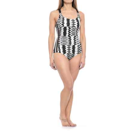Profile Sports by Gottex White Noise Mesh Inset Y-Back One-Piece Swimsuit - UPF 50+ (For Women) in Black.White - Closeouts