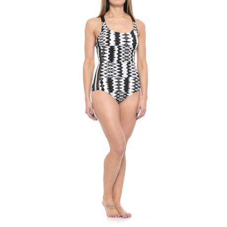 Profile Sports by Gottex White Noise Mesh Inset Y-Back One-Piece Swimsuit - UPF 50+ (For Women) in Black.White