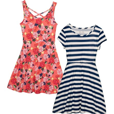4239acf99b PS by Aero Allover Print and Stripe Dresses - 2-Pack (For Big Girls