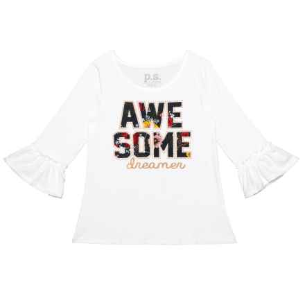 PS by Aero Awesome Dreamer Shirt - Long Sleeve (For Big Girls) in White Alyssum - Closeouts