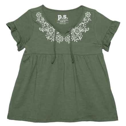 PS by Aero Embroidered Shirt -Short Sleeve (For Big Girls) in Olive - Closeouts