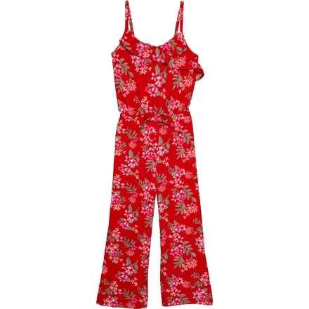 PS by Aero Floral Print Jumper - Sleeveless (For Big Girls) in Lollipop Red Tropical Floral - Closeouts