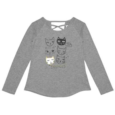 PS by Aero Snap Cats Shirt - Long Sleeve (For Big Girls) in Medium Heather Grey - Closeouts