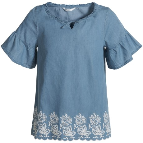 P.S. from Aeropostale Chambray Scalloped-Hem Peasant Shirt - Short Sleeve (For Big Girls) in Blue