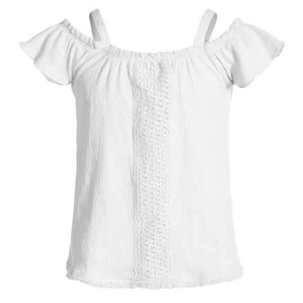 P.S. from Aeropostale Cold-Shoulder Shirt - Short Sleeve (For Little Girls) in Ivory - Closeouts