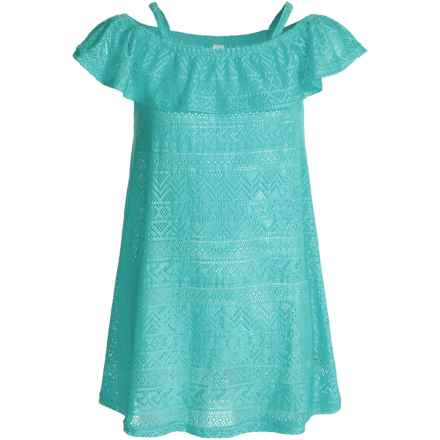 P.S. from Aeropostale Cold-Shoulder Swimsuit Cover-Up - Sleeveless (For Big Girls) in Turquoise - Closeouts