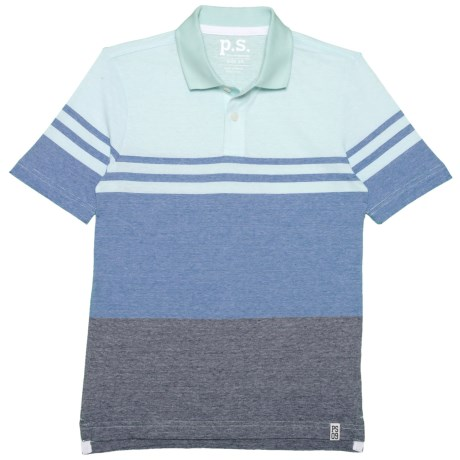 P.S. from Aeropostale Color-Block Polo Shirt - Short Sleeve (For Big Boys) in Light Blue