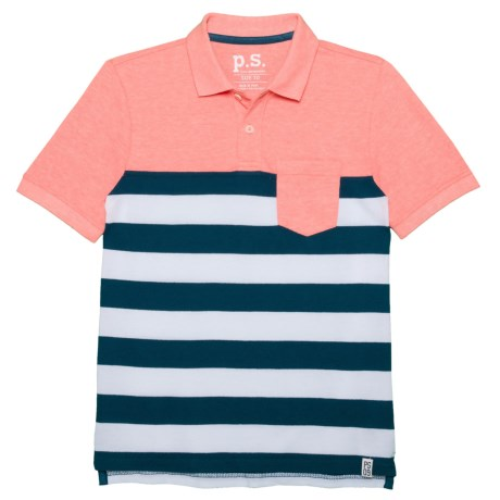 P.S. from Aeropostale Color-Block Striped Polo Shirt - Short Sleeve (For Big Boys) in Peach