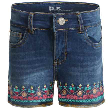 P.S. from Aeropostale Embroidered Denim Shorts (For Big Girls) in Blue - Closeouts