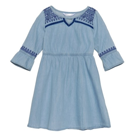 P.S. from Aeropostale Flounce-Sleeve Chambray Dress - Long Sleeve (For Little Girls) in Blue