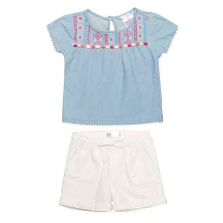 P.S. from Aeropostale Flutter Sleeve Shirt and Shorts Set - Short Sleeve (For Toddler Girls) in Blue - Closeouts