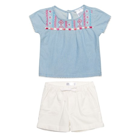 P.S. from Aeropostale Flutter Sleeve Shirt and Shorts Set - Short Sleeve (For Toddler Girls) in Blue