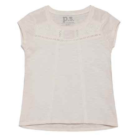 P.S. from Aeropostale Lace Slub Tunic Shirt - Short Sleeve (For Big Girls) in Cream - Closeouts