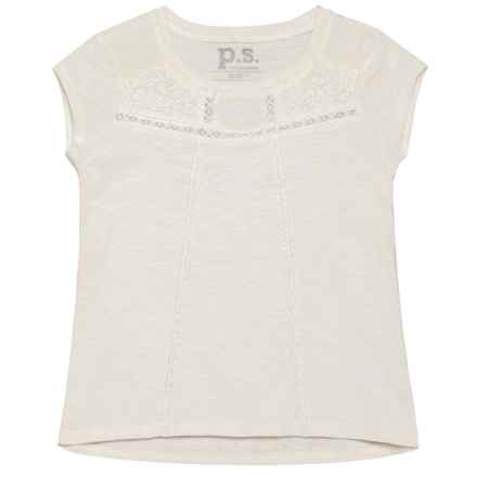 P.S. from Aeropostale Lace Slub Tunic Shirt - Short Sleeve (For Big Girls) in White Alyssum - Closeouts