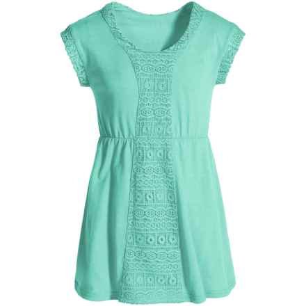 P.S. from Aeropostale Lacy Jersey Swimsuit Cover-Up - Short Sleeve (For Big Girls) in Aqua - Closeouts