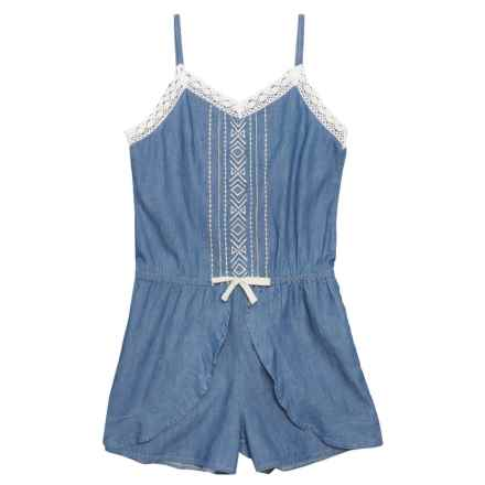 P.S. from Aeropostale Woven Romper - Sleeveless (For Big Girls) in Blue - Closeouts