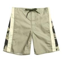 PT Sportswear Board Shorts (For Men) in Khaki/Cream W/Khaki Floral Print - Closeouts