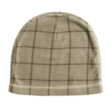PT Sportswear Fleece Beanie Hat - Plaid (For Men and Women) in Light Taupe - Closeouts