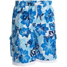 PT Sportswear Printed Cargo Boardshorts (For Men) in Blue Floral - 2nds
