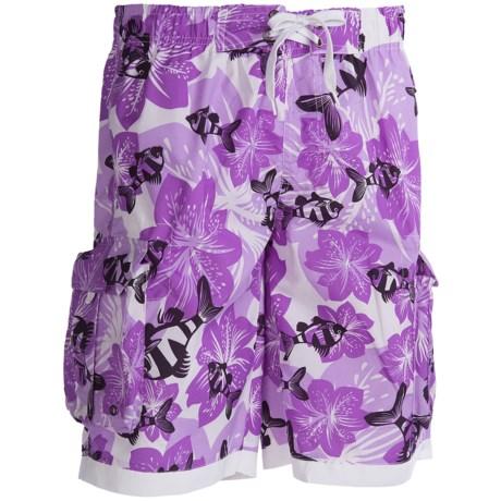 PT Sportswear Printed Cargo Boardshorts (For Men) in Purple Floral