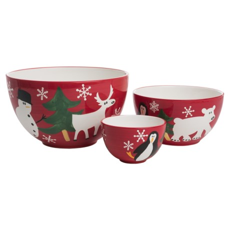 PTS America Arctic Holiday Earthenware Mixing Bowls - Set of 3 in Multi
