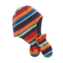 Puffin Down CONTRAST FLEECE FLAP CAP AND MITTEN SET (For Infants) in Orange Multi Combo - Closeouts