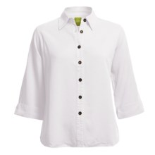 Pulp Button-Front Shirt - TENCEL®, 3/4 Sleeve (For Plus Size Women) in White - Closeouts