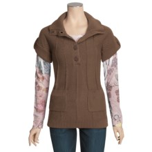 Pulp Button Mock Pullover Sweater - Short Sleeve (For Women) in Mocha - Closeouts