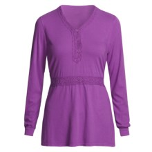 Pulp Crochet-Trim Shirt - Tie Back, Long Sleeve (For Women) in Boysenberry - Closeouts