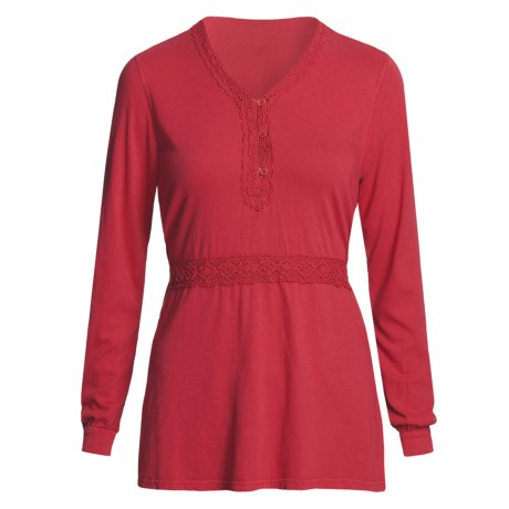 Pulp Crochet-Trim Shirt - Tie Back, Long Sleeve (For Women) in Boysenberry
