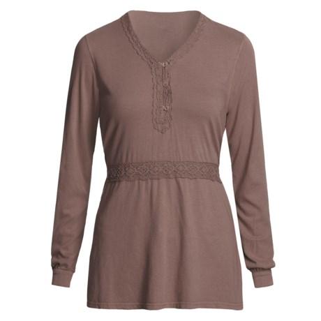 Pulp Crochet-Trim Shirt - Tie Back, Long Sleeve (For Women) in Boysenberry