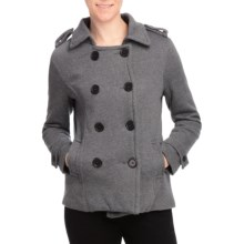 Pulp Double-Breasted Pea Coat (For Women) in Charcoal - Closeouts