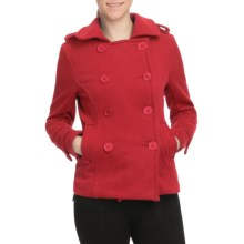 Pulp Double-Breasted Pea Coat (For Women) in Red - Closeouts