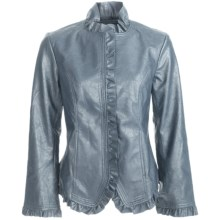 Pulp Faux-Leather Jacket - Ruffle Trim (For Women) in Denim Blue - Closeouts