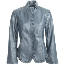 Pulp Faux-Leather Jacket - Ruffle Trim (For Women) in Denim Blue