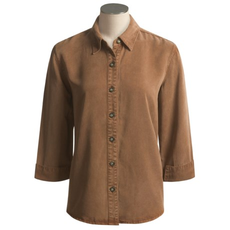 Pulp Point Collar Shirt - 3/4 Sleeve (For Women) in Cedar