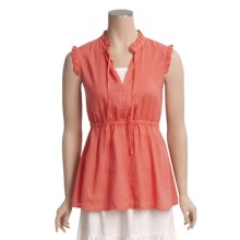 Pulp Ruffle Trim Linen Shirt - Sleeveless (For Women) in Poppy - Closeouts