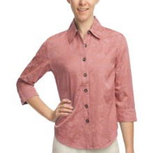 Pulp Silk-Cotton Jacquard Shirt - 3/4 Sleeve (For Women) in Rosewood - Closeouts
